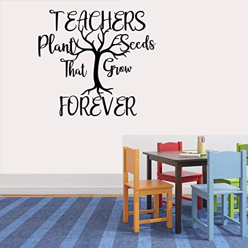 "Teachers Plant Seeds That Last Forever (W) Vinyl Decal Wall Sticker, Teacher Quote, DIY, Wall Decal, Art, Mural, Classroom Decor, 13"" x 14"" (Black)"