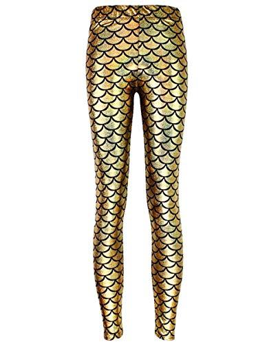 - Alaroo High Stretch Fish Scale Mermaid Leggings for Women Golden Plus XXL