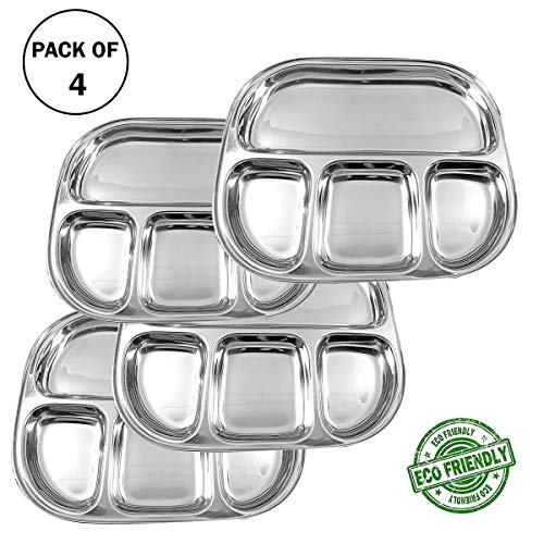 (IndiaBigShop Stainless Steel Oval Shape 4 compartment Thali Mess Trays For Lunch and Dinner Set of 4)