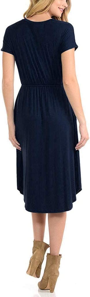 Maternity Nursing Dress,Crytech Solid Color Long Sleeve Double Layer Knee Length Midi Dress for Breastfeeding Pregnancy Loose Casual Sleepwear Nightgown Casual Clothes