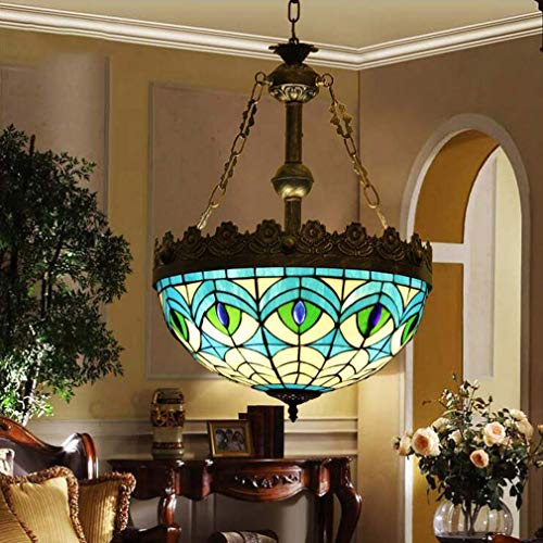 16 Inch Tiffany-Style Mediterranean 3-Light Inverted Ceiling Pendant Light, Blue Peacock Tail Pattern Stained Glass Single Head Hanging Lamp, 110-240V/E27 (Peacock Tiffany Hanging)
