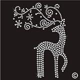 Rhinestone Diamante Crystal Iron On T Shirt Design Transfer - CHRISTMAS SANTAS REINDEER