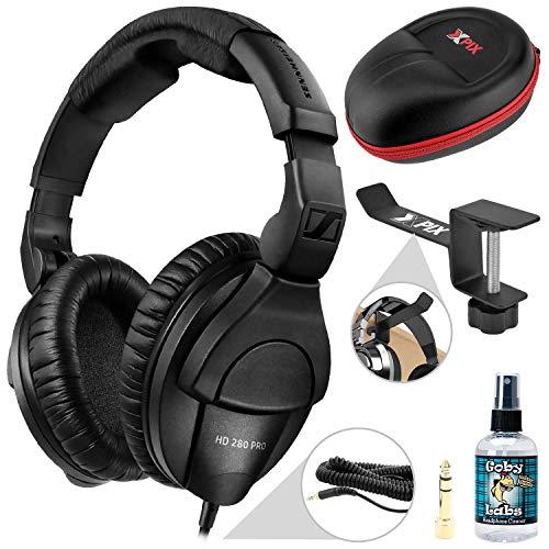 Sennheiser HD 280 Pro Circumaural Closed-Back Monitor Headphones (Black) + Xpix Headphone Case, Xpix Headphone Hanger, and Accessories
