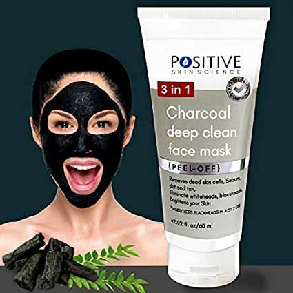 POSITIVE 3 in 1 Activated Charcoal (deep clean) Peel off mask for Men & Woman   60 GMS