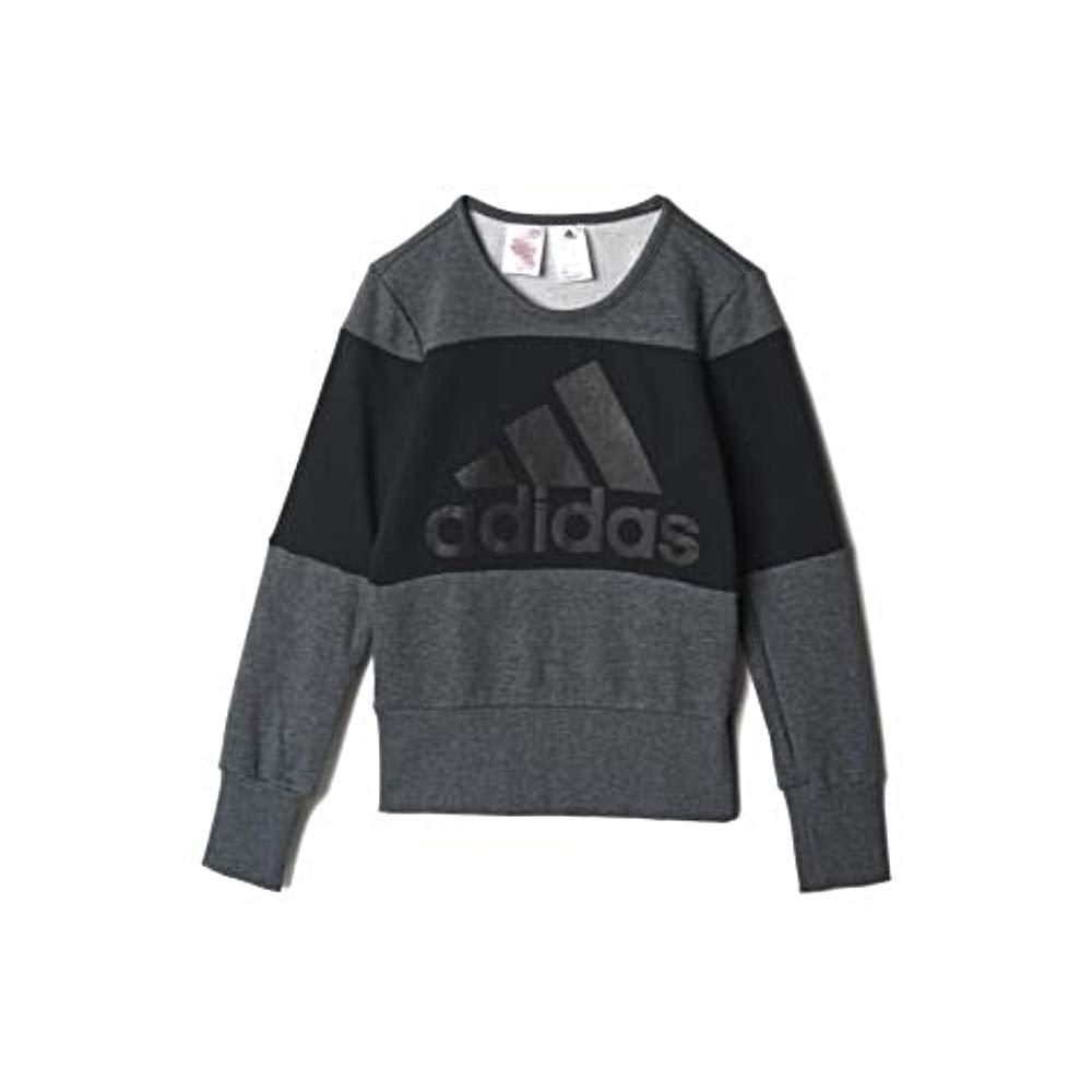 adidas YG W ST Sweat Sudadera para niña, Color GrisNegro