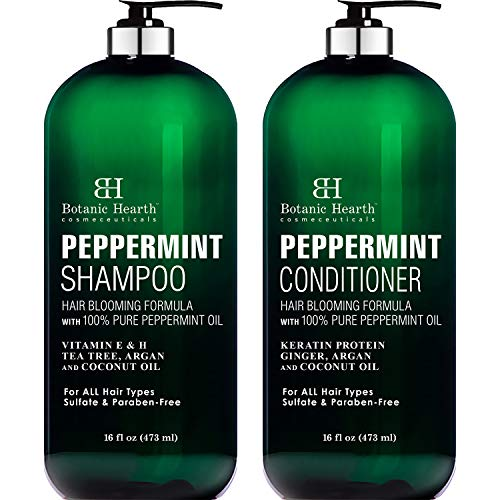 BOTANIC HEARTH Peppermint Oil Shampoo and Conditioner Set - Hair Blooming Formula with Keratin for Thinning Hair - Fights Hair Loss, Promotes Hair Growth-Sulfate Free for Men and Women - 16 fl oz x 2 (Best Shampoo For Winter Dandruff)