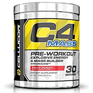 Cellucor C4 Mass Pre Workout Supplement Muscle Builder, Icy Blue Razz, 35.97 Ounce, 3 Count