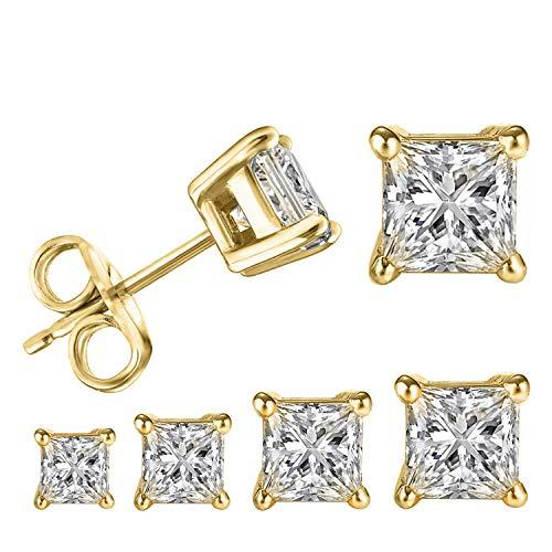 LIEBLICH Princess Cut Cubic Zirconia Stud Earrings Stainless Steel Yellow Gold Plated Square Earrings Set 4 Pairs 3mm-6mm