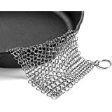 Efaithtek Cast Iron Cleaner -Premium 316 Stainless Steel Chain Maille Scrubber, 8x6 Inch