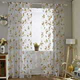 Norbi Fresh Floral Print Tulle Voile Door Window Rom Curtain Drape Panel Sheer