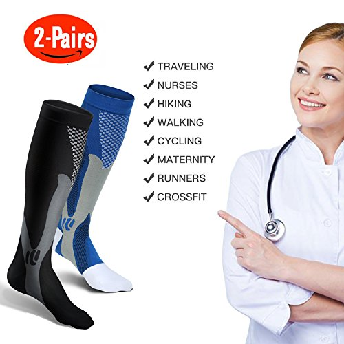 Graduated Compression Socks for Men Women, L/XL, for Running, Pregnancy, Flight, Travel, Nursing, Boost Stamina, Speed Up Recovery, Better Blood Circulation, Blue,1 Pair
