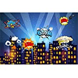Superhero Cityscape Photography Backdrop. Great as Super Hero City Photo Booth Background – Birthday Party and Event Decorations