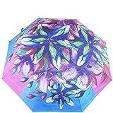 "Anuschka Umbrella AUTO Open/Close   UPF 50+ Max Sun protection   38"" Waterproof Canopy   Fits in Handbag   Windproof Flexible Fiberglass   Luscious Lilies Denim"