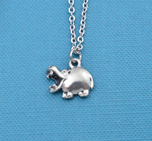 Silver Hippo - Little Girls Hippo Necklace in silver pewter on a 14 stainless steel chain. Little girls jewelry. Little girls necklace. Hippopotamus.