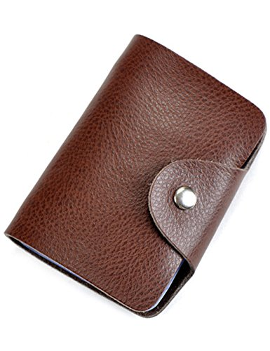Aladin Unisex Small Leather Credit Card Holder with 26 Plastic Card Slots Coffee