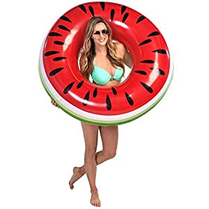 U.S. Pool Supply Giant 4 Foot Inflatable Watermelon Pool Ring Tube Float - Fun Kids Swim Party Toy - Summer Lounge Raft