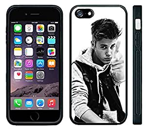 Apple iPhone 6 Black Rubber Silicone Case - Justin Bieber Boyfriend Photo Pionted black and white
