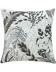 Homing Kissenbezug beige grau   Floral Blumen Wald  Kissenhülle beige grau   Bedruckt Wohnzimmer Schlafzimmer Kinderzimmer   (1 Stück) 45x45 cm dekorativer Kissenbezug