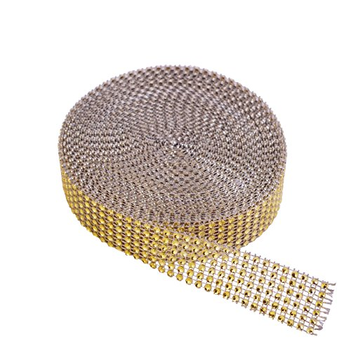 Metable 6 Row 10 Yard Acrylic Rhinestone Diamond Ribbons Sparkling Mesh Ribbon for Wedding Cakes DIY Arts Crafts Decorations (Gold) - Ribbon Gem