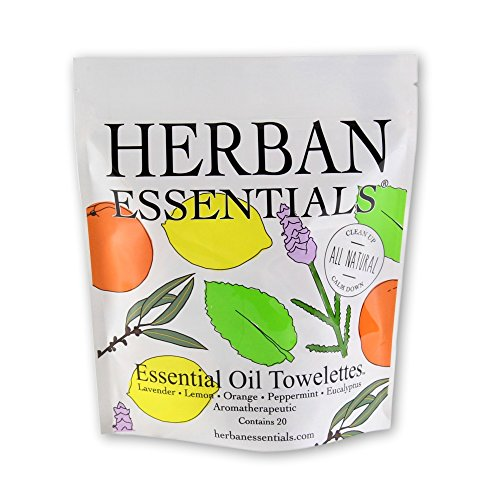 Price comparison product image Herban Essentials Assorted Bag (all 5 scents): Lemon, Lavender, Peppermint, Orange and Eucalyptus (20 towelettes)