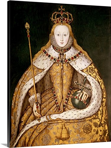 Canvas On Demand Premium Outdoor Canvas Wall Art Print entitled Queen Elizabeth I in Coronation Robes, c.1559-1600 (oil on (Ermine Robe)