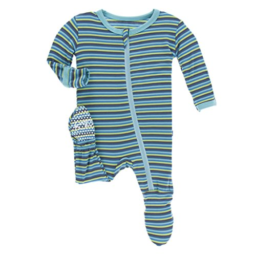 KicKee Pants Little Boys Print Footie (Zipper) - Boy Anniversary Stripe, 4T (Anniversary Stripes)