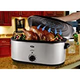 Oster CKSTRS23-SB 22-Quart Roaster Oven with Self-Basting Lid, Stainless Steel Finish by Oster
