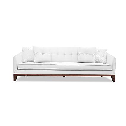 Superbe South Cone Home LOITUFSOF96/WHITE Lois Tufted Linen Sofa, 96u0026quot;, ...