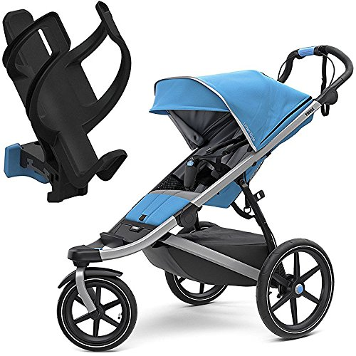 Thule All-Terrain Urban Glide 2 Jogging Stroller – Thule Blue/Silver Frame with Cup Holder/Bottle Cage