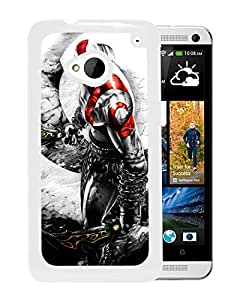 God of War 3 White Hard Plastic HTC ONE M7 Phone Cover Case