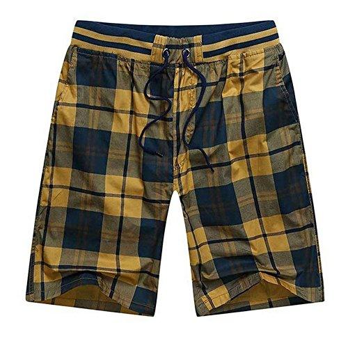 ZFADDS Summer Elastic Waist Mens Plaid Shorts Classic Design Breeches Cotton Beach Short Pants Yellow 2 4XL