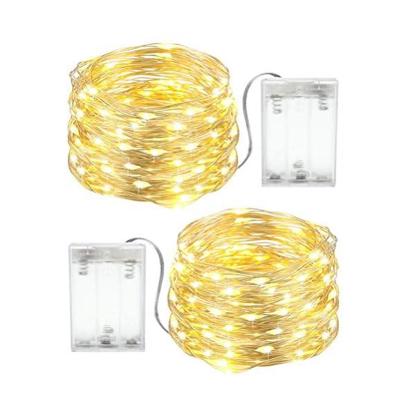 Stringa Luci LED Batteria, 2 Pacchi 4M 40 LEDs Catena Luminosa, Luci Natale Impermeabili per Natalizie Decorazioni Interni ed Esterni (Bianco Caldo) 1 spesavip