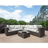 Supernova Outdoor Patio 6pc Sectional Furniture Wicker Rattan Sofa Set (6 Pcs Sofa Set)