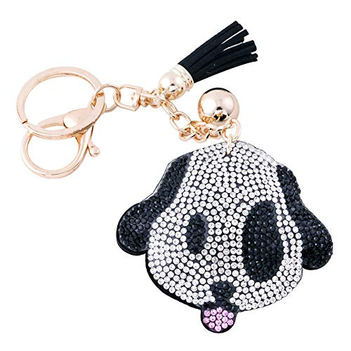 (Soleebee Women Girl Tassel Keychain Premium SS6 Crystal Key Chain Glitter Bag Charm (Cute Dog Black))