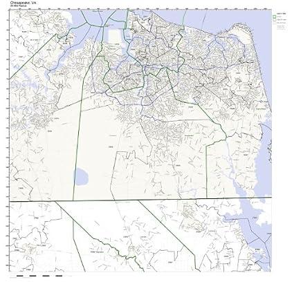 Amazon.com: Chesapeake, VA ZIP Code Map Laminated: Home & Kitchen on
