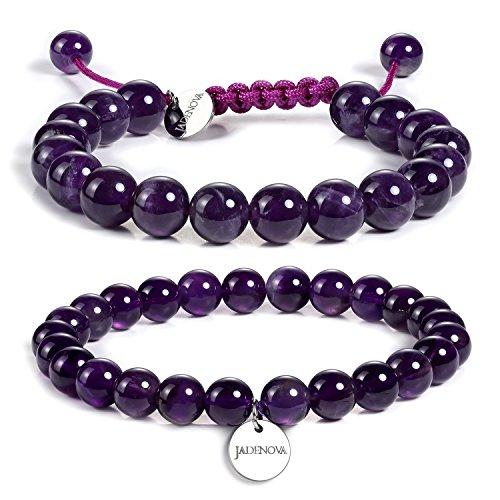 JADENOVA 8/10mm Natural Amethyst Gemstone Bracelet Elastic Stretch Yoga Beaded Bracelet Bangle Healing Crystal Bracelet Couples Gifts for Men Women (2pcs Bracelet Set) (Amethysts Well Genuine)