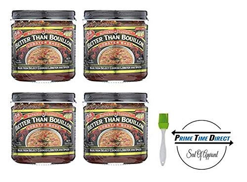 Better Than Bouillon Lobster Base Broth 8.0 oz (Pack of 4) with Silicone Basting Brush in a Prime Time Direct Sealed ()