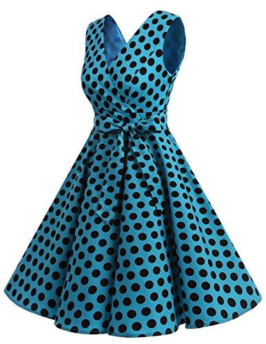 Dresstells®Vestido De Estilo 1950 Corto Mujer Vintage Retro Escote En Pico Con Cinturón Black Red Dot