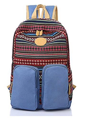 Keshi Leinwand Cool Schulrucksäcke/Rucksack Damen/Mädchen Vintage Schule Rucksäcke mit Moderner Streifen für Teens Jungen Studenten Hellblau 1KbR2r0oi