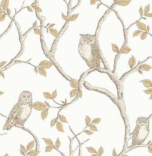 Linden Wallpaper - Fine Decor 2900-40639 Linden Owl Wallpaper, Natural