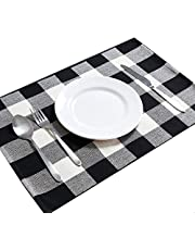 DOLOPL Cotton Buffalo Check Placemats Heat Resistant Table Mats Set of 6 Non-Slip Washable Place Mats for Halloween Christmas Dining Kitchen Table(Black and White Buffalo Check) …