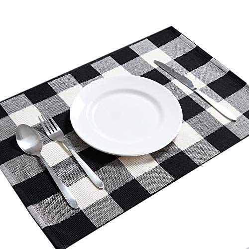 DOLOPL Buffalo Check Placemats Christmas Placemat Table Mats Machine Washable Easy to Clean Heat Resistant Farmhouse Thanksgiving Placemats Set of 6 for Dining Kitchen Table(Black and Off White)