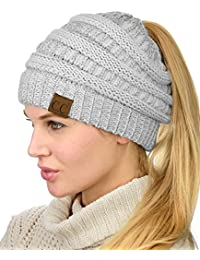 BeanieTail Soft Stretch Cable Knit Messy High Bun Ponytail Beanie Hat eec10382755