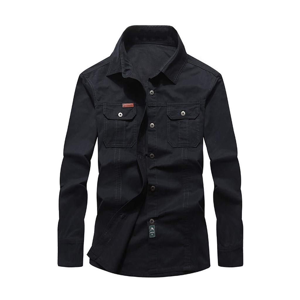 Wintialy New Mens Shirts Long Sleeve Spring and Autumn Multi-Pocket Lapel Cotton Workwear Shirt Top