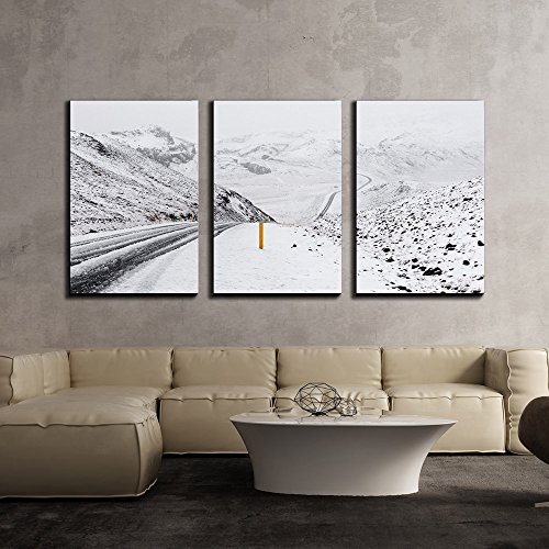 Road and Hills with Snow Covered x3 Panels