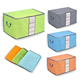 Yosoo 3 Pcs Bamboo Charcoal Large Durable Foldable Clothes Quilt Pillow Blanket Storage Zipper Bag Case Container Organizers Container Box (Blue+Green+Orange)