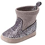 SMALLE ◕‿◕ Newborn Toddler Baby Girls Boys Bling Warm Winter Soft Sole Boot Casual Shoes Silver