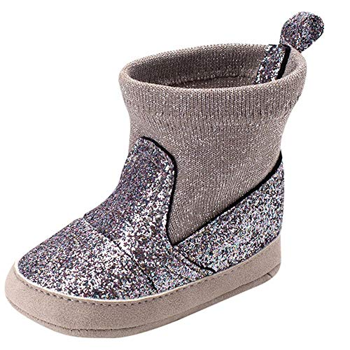 Fheaven Newborn Toddler Baby Girls Boys Bling Booties Warm Winter Soft Sole Boot Casual Shoes (0-6 Month, Silver)