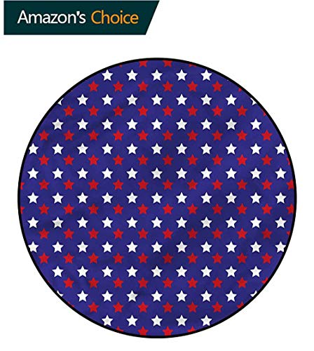 RUGSMAT USA Round Area Rug,Federal Holiday Design Coffee Table Mat Non-Skid Living Room Carpet Diameter-39