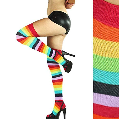 Oksale Women Rainbow Winter Warm Cable Long Boot Socks Over Knee Thigh High Stockings (Multicolor) from Oksale